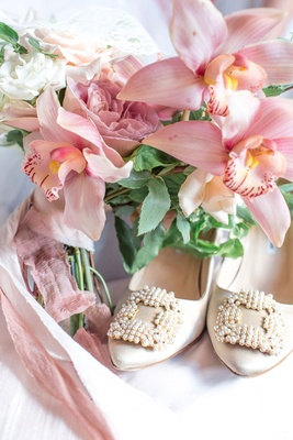 Nude wedding shoes vintage inspired pearl buckle on toe nude ribbon around orchid bouquet