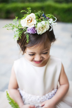 Wedding flower girl with flower crown white and purple blooms greenery to match basket