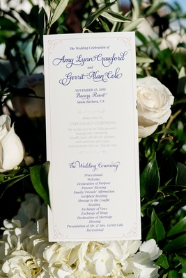 Wedding ceremony program card for Amy Crawford and Houston Astros pitcher Gerrit Cole wedding