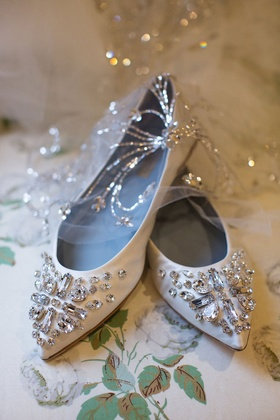 Wedding shoes flats silver rhinestone crystal decals on toe of shoe pointed toe