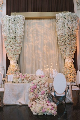 patterned uplighting, floral curtain, floral runner