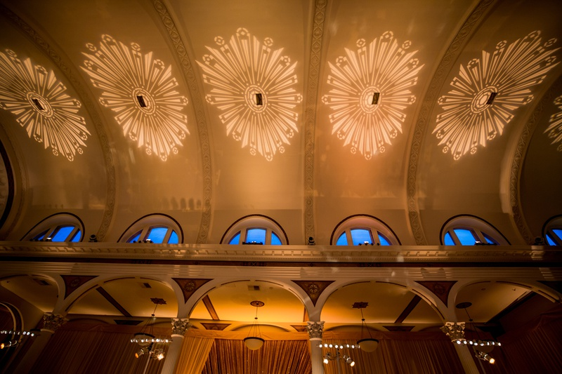 vibiana wedding reception, art deco lighting on ceiling, heidi gibson engagement ring lighting
