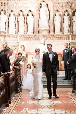 bride in high neck lace wedding dress with groom tuxedo new york church of the good shepherd recess