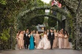 bride in le spose di gio blush gown, bridesmaids in adrianna papell, maid of honor in teal