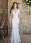 Claire Pettibone The Vineyard Romantique Collection lace v-neck mermaid gown with sweep train