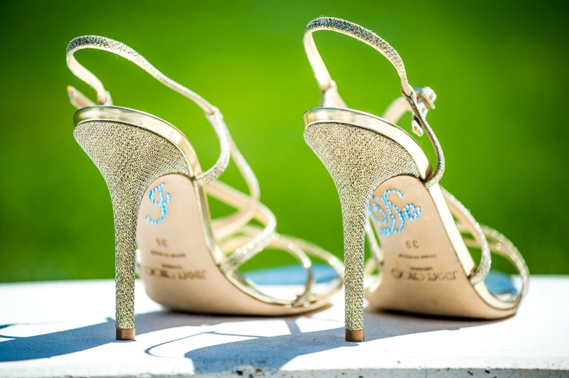 "Gold sandal heels with blue rhinestone ""I do"" stickers"