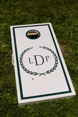 cornhole board couples monogram green white welcome reception before wedding