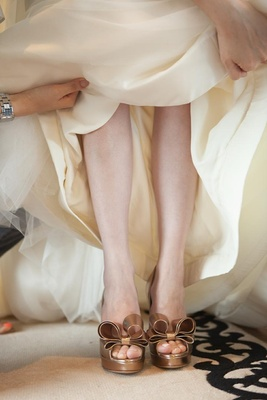 Valentino bow heels on bride for wedding day