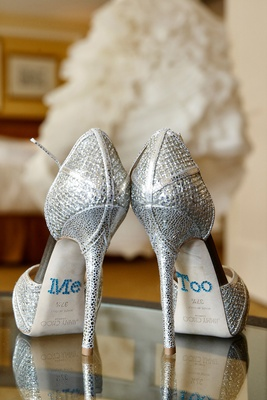 "sparkly silver jimmy choo wedding shoes with ""me too"" sticker decals"