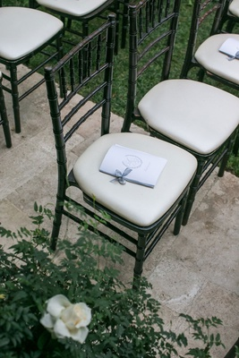 wedding ceremony hotel bel air black chiavari chair ivory cushion ceremony program bow