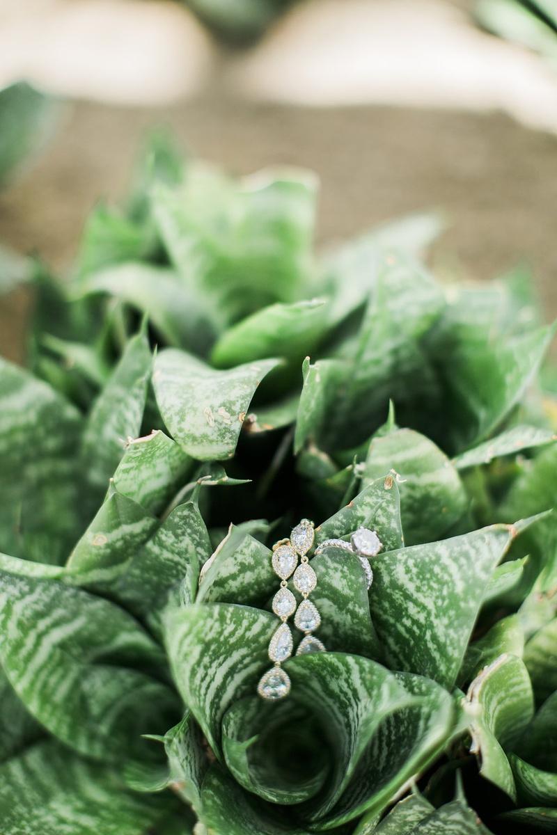 wedding diamond dangle cascading earrings and diamond engagement ring on greenery foliage