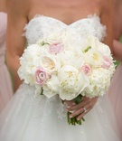 White rose and peony bouquet with pink ranunculus