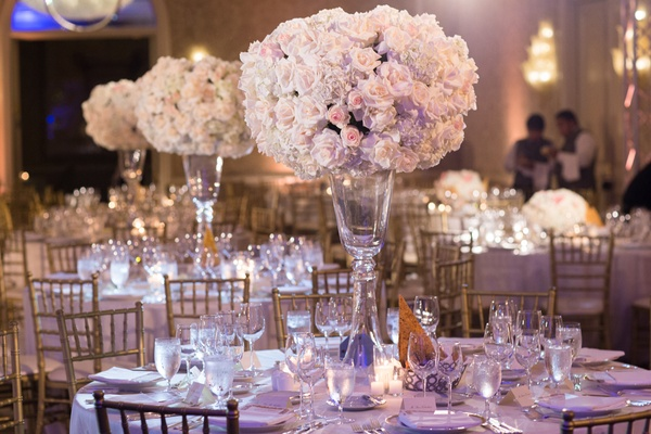 blush and ivory rose centerpieces, gold chiavari chairs, classic wedding