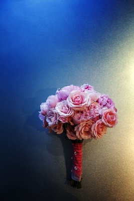 Pink rose and peony bridal bouquet with crystals