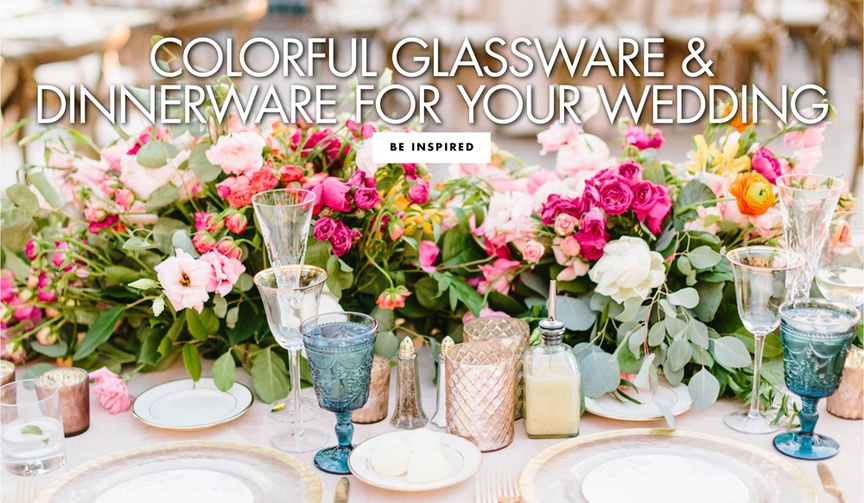 colorful glassware and dinnerware for your wedding colored goblets glasses