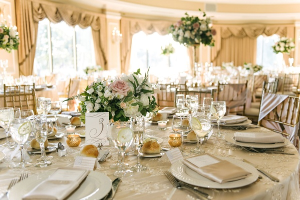 Ballroom wedding Oheka Castle neutral color palette low flower centerpiece pink rose greenery