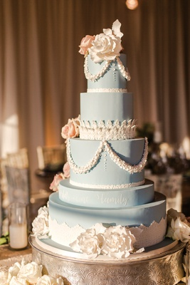 four tier wedgwood blue cake with lace details, white and blush sugar flowers