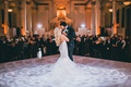 vibiana wedding reception bride in mermaid lazaro gown long blonde hair first dance kiss with groom