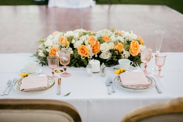 floral centerpiece for sweetheart table