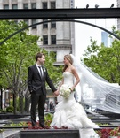 bride in vera wang gown, vera wang cathedral veil, groom in hugo boss