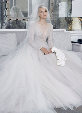 Romona Keveza Fall 2018 bridal collection lace long sleeve illusion neckline ball gown