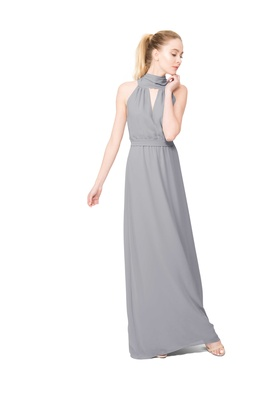 Joanna August Riggs long bridesmaid dress with high neck sleeveless in light grey