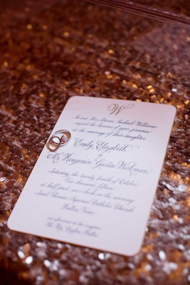 classic invitation sequined linen calligraphy traditional dallas wedding marriage of their daughter