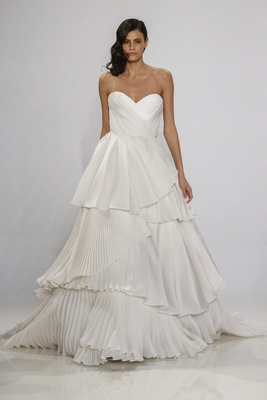 Christian Siriano for Kleinfeld Bridal strapless sweetheart neckline ball gown pleated tiered skirt