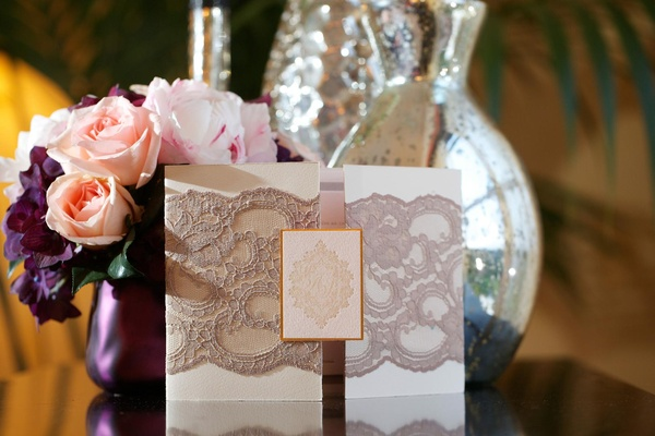 Tri-fold invite with scalloped lace by Lehr and Black
