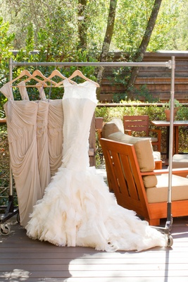 Outdoor wedding with pink gold dcor at a vineyard in california brides vera wang fit and flare gown with lace neckline ruffle skirt junglespirit Images