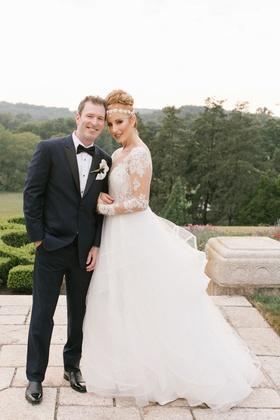 bride in hayley paige, headpiece, groom in ike behar