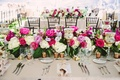 Wedding reception tent beige linen rose gold candle votive flower runner pink peony rose white