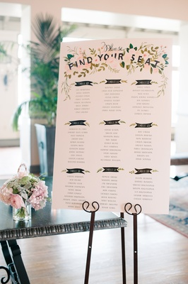 wedding seating chart with floral details