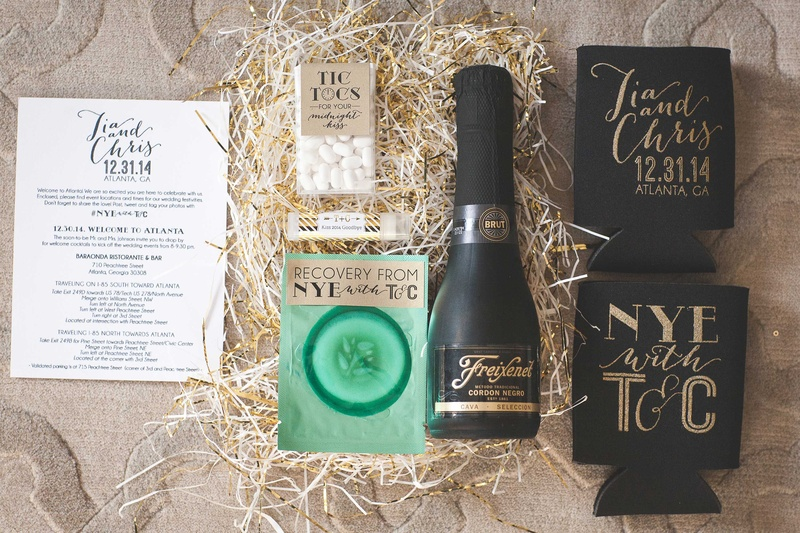 new years eve wedding gift box favor with friexenet cucumber pad koozies tic