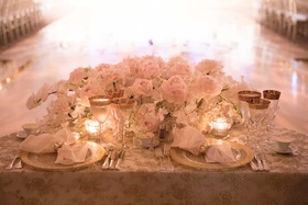 wedding reception sweetheart table dance floor semi circle pink peony white orchid gold glasses