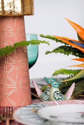 pink blue green bird shape salt and pepper shaker pink candlestick gold bird of paradise