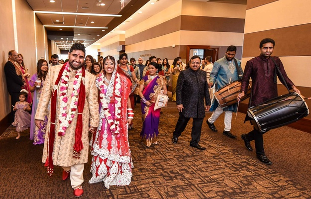 Indian Newlyweds Celebrate With Friends And Family After Wedding