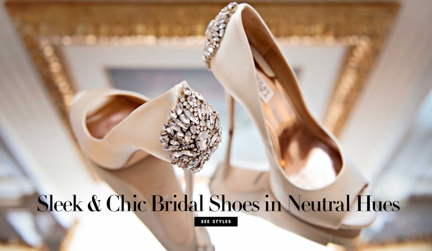 Wedding shoes neutral shades bridal heels crystal details on back of shoes