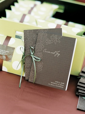 Wedding ceremony program of events in brown