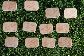 Marble escort card die cut with calligraphy on greenery hedge wall reception