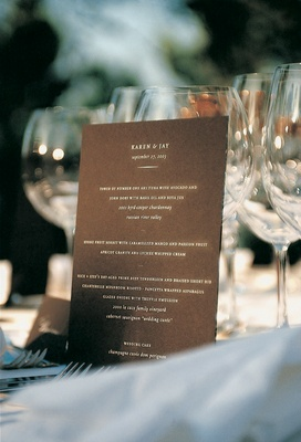 Chocolate menu card with white lettering