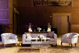 portland art museum wedding reception with tufted lounge furniture