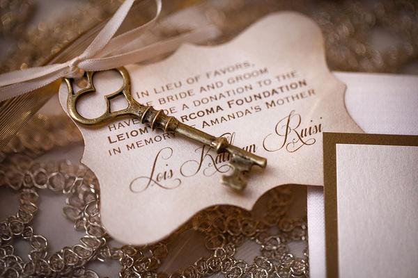 wedding favor charitable donation skeleton key charm