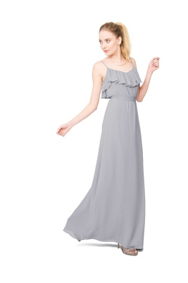 Joanna August Shuana long bridesmaid dress with thin straps ruffle neckline in light grey