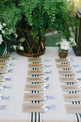 luggage tag escort cards table stripes nautical theme tan beach wedding place cards