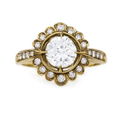 claire pettibone and trumpet and horn equinox engagement ring, round diamond, vintage inspired halo
