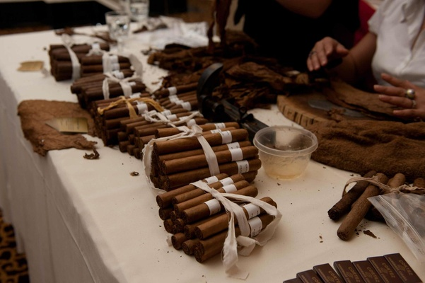 Hand-rolled cigars at a wedding