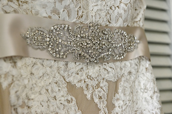 Anne Barge nude wedding gown belt with a rhinestone design