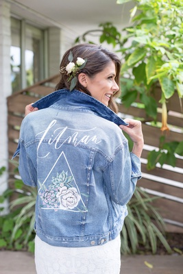 wedding accessories for bride custom jean jacket with new last name and flower succulent design