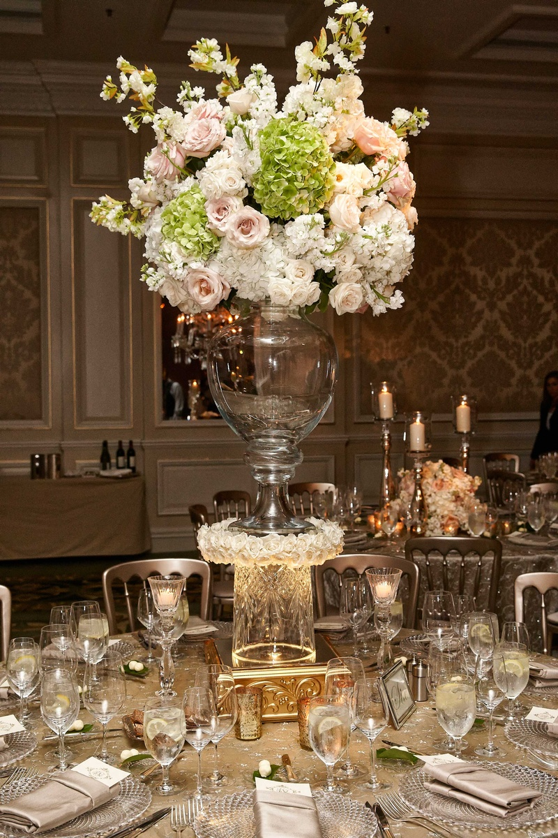 Elegant wedding centerpieces - Wedding Arrangement Of Pink Rose White Hydrangea On Top Of Glass Vase
